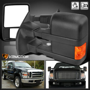 Fit 1999 2016 Ford F250 Superduty Manual Telescoping Tow Mirrors Signal Lights