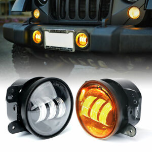 Xprite 4 Inch Amber Yellow 60w Cree Led Fog Lights For Jeep Wrangler 1997 2017