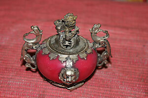 Stunning Chinese Asian Incense Holder Burner Foo Dog Dragons Lions Silver Metal