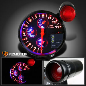 5 4 In 1 11k Rpm Led Shift Light Tachometer Oil Water Pressure Temp Gauge