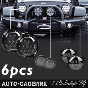7 Led Headlight Signal Turn Light Cree 4 Inch Fog Jeep Wrangler Jk Cj Lj
