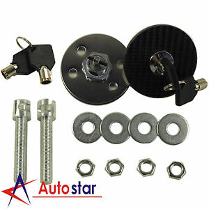 1 Pair Universal Racing Carbon Fiber Mount Bonnet Hood Latch Pin Key Locking Kit
