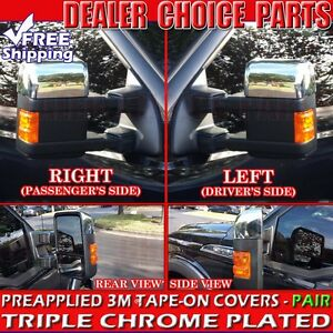 2008 2016 Ford F250 F350 F450 F550 Superduty Chrome Mirror Covers Half Towing