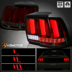 1999 2004 Ford Mustang Red smoke Lens Sequential Led Neon Tube Tail Brake Lamps