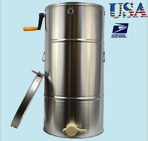 Two 2 Frame Bee Honey Extractor Honeycomb Drum Stainless Steel Usa Ship