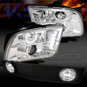 05 09 Mustang Chrome Halo Led Projector Headlights black Grille W Fog Lamps
