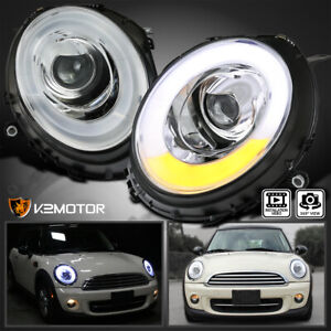 2007 2012 Mini Cooper Led Tube Bar Halo Ring Projector Headlights Left Right