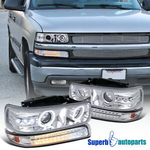 1999 2002 Silverado Chrome Dual Halo Led Projector Headlights led Bumper Lamps