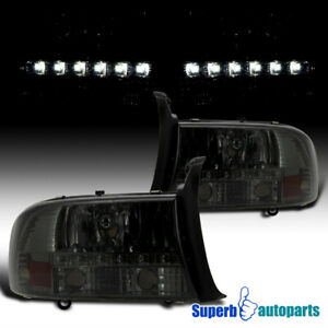 For 1997 2004 Dodge Dakota Led Drl Headlights Head Lamps Smoke