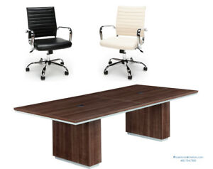 8 Foot Conference Table With Grommets And 6 Cream Or Black Chairs Set Modern
