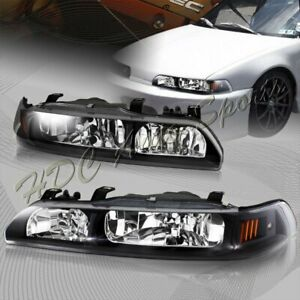 For 90 93 Acura Integra Jdm Black Housing 1 piece Headlights W amber Reflector