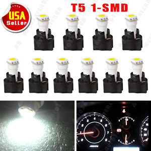 10 X White T5 Twist Socket Instrument Panel Led Cluster Dash Light Bulb 17 73 74