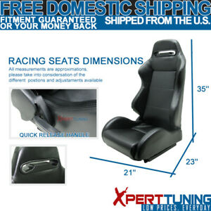 Fits Acura Pvc Leather Car Sport Racing Seats Black Pair Reclinable