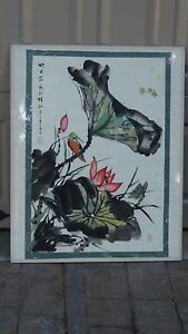 Antique 19c Chinese Ink Watercolor Painting Of Humming Bird Bees Around Flowers