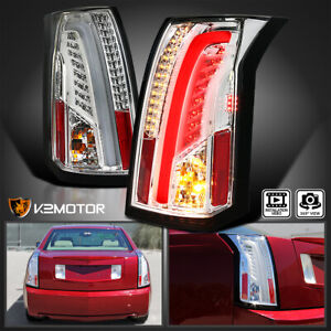 2003 2007 Cadillac Cts Chrome Clear Led Bar Tail Lights Brake Lamps Left right