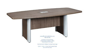 12 Foot Modern Boat Shaped Conference Table With Grommets White Walnut Espresso