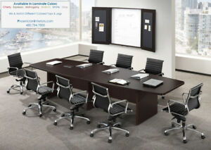 12 Foot Modern Boat Shaped Conference Table With Grommets White And 5 Colors