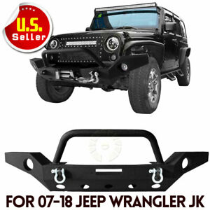 Textured Front Bumper W Led Lights Winch Plate For Jeep Wrangler Yj Tj