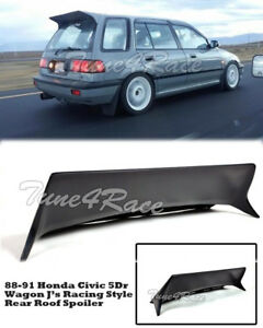 For 88 91 Honda Civic Wagon 5dr J S Racing Rear Roof Spoiler Wing Body Kit Ef