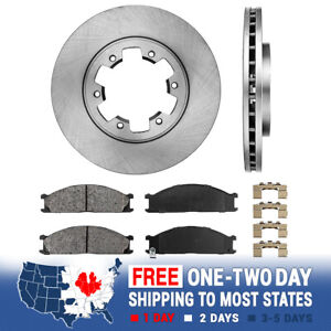 Front Brake Disc Rotors And Ceramic Pads For 2000 2001 2000 Nissan Frontier 4wd