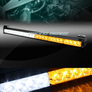 27 Led White Amber Traffic Advisor Emergency Warning Flash Strobe Light Bar