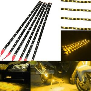 6pcs Waterproof 12 15 Dc 12v Motor Led Strip Light For Car Motorcycle Yellow