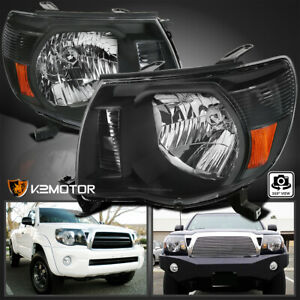 For 2005 2011 Toyota Tacoma Headlights Black Head Lamps Left Right 05 11 Pair