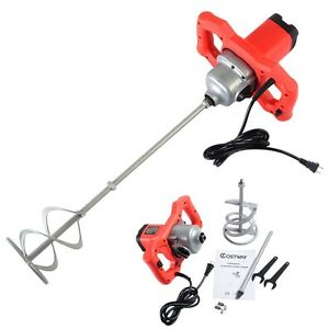New Electric Mortar Mixer 1600w Dual High Low Gear 6 Speed Paint Cement Grout Us