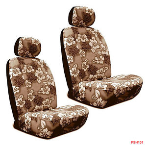 New Tan Hawaiian Flowers Hibiscus Print Car Front Low Back Bucket Seat Covers