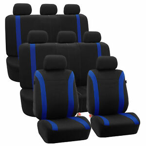 3 row Car Auto Seat Covers For Auto Vehicle Sedan Suv Van Truck Blue