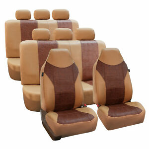 Leather Suv Van 3row Seat Covers Brown Biege For Sedan Suv Van