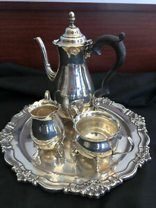 4 Piece Tea Set Creamer Sugar Coffee Tea Pot W Tray 50 Ozt