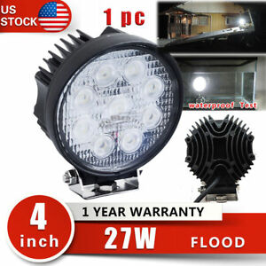4inch 27w Round Led Work Light Flood Driving Fog Lamp Atv Ute Truck Boat 4wd