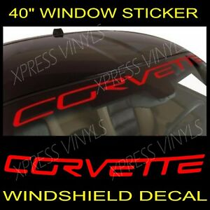 Chevy Corvette Windshield Vinyl Decal Sticker Custom 40 Vehicle Logo Red