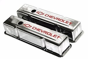 Sbc Chrome Steel Tall Valve Covers W Red Chevrolet Logo 58 86 283 400 Chevy