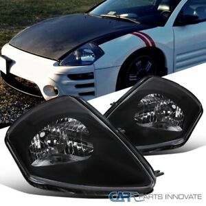 For 00 05 Mitsubishi Eclipse Matte Black Headlights Head Lamps Left Right Pair