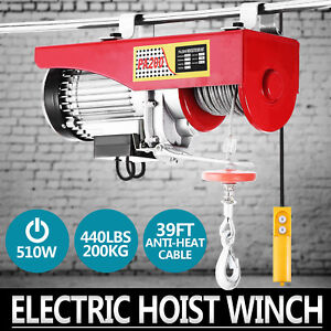 440lbs Electric Hoist Winch Lifting Engine Crane Cable Pulley Garage Lift Hook