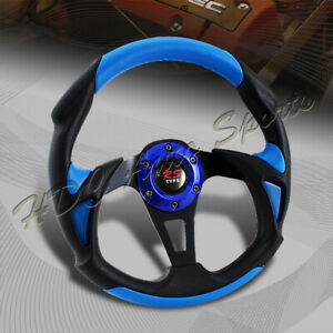 Universal 320mm Type B Black Blue Pvc Leather 6 Hole Racing Steering Wheel