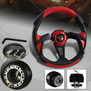 320mm Black Red Pvc Leather Type B 6 Hole Racing Steering Wheel For Toyota Hub