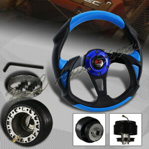 320mm Black blue Pvc Leather Type b 6 Hole Racing Steering Wheel for Toyota Hub
