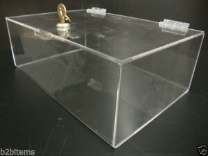 Acrylic Lucite Clear Countertop Display Show Case 12 X 8 X 4 Locking Safe Box