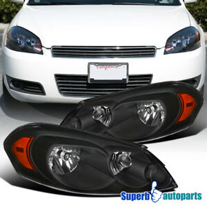 2006 2015 Chevy Impala 2006 2007 Monte Carlo Replacement Black Headlight Lamps