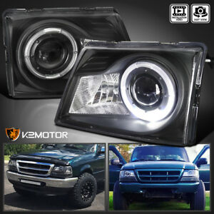 Fits 1998 2000 Ford Ranger Black Led Halo Projector Headlights Lamps 98 00 L R