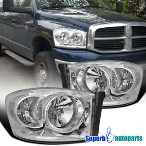 For 2006 2008 Dodge Ram Headlight Head Lamps Replacement Pair