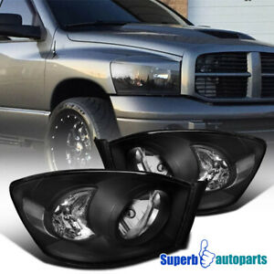 For 2006 2008 Dodge Ram Headlight Head Lamps Black Pair Replacement