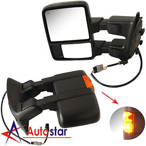Towing Upgrade Mirrors Power Heated Turn Signal 99 07 Ford F250 550 Super Duty