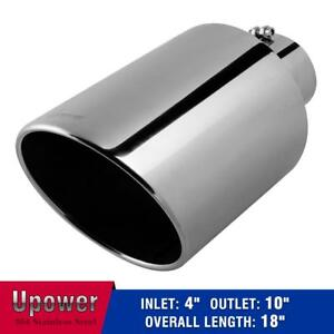 Universal Stainless Steel Diesel Exhaust Tip Pipe 4 inlet 10 outlet 18 long