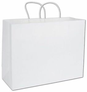 12 16x6x12 White Kraft Paper Handle Shopping Gift Merchandise Carry Retail Bags