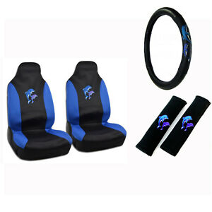 New Blue Purple Dolphins Car Front Seat Covers Steering Wheel Cover 5pc Set