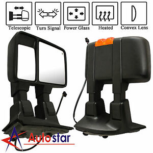 Power Heated Orange Signal Towing Side Mirrors Pair For 08 16 Ford Super Duty